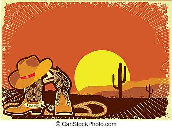 éléments, .grunge, coucher soleil, occidental, fond, cowboy's, sauvage