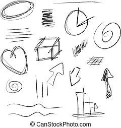 éléments, hand-drawn, ensemble, vecteur