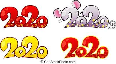 éléments, heureux, rat, année, conception, 2020, métal, nouveau