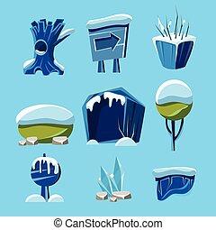 éléments, hiver, jeu, vecteur, dessin animé, nature