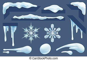 éléments, hiver, surgelé, neige, glace, conception, glaçons