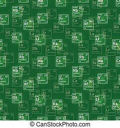 éléments, icônes, beaucoup, seamless, chimique, modèle, vert, blanc