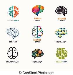 éléments, icônes, création, idée, collection, cerveau