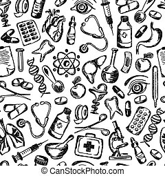 éléments, icônes, modèle, monde médical, seamless, santé