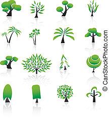 éléments, icônes, set., arbre, collection, conception