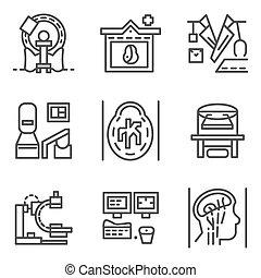 éléments, icônes, simple, vecteur, mri, ligne