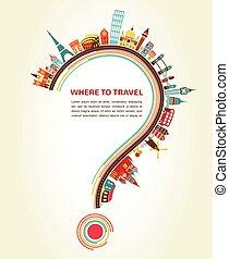 éléments, icônes, tourisme, point interrogation, voyage, où