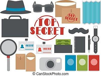 éléments, illustration, agent, top secret