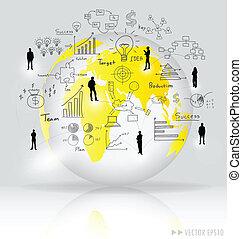 éléments, illustration., globe, moderne, graph., vecteur, infographics