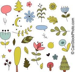 éléments, illustration, style., vecteur, forêt, dessin animé