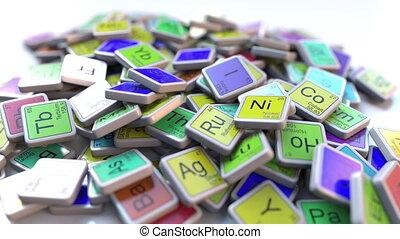 éléments, indium, apparenté, blocks., chimique, périodique, tas, table, chimie, intro, animation, bloc