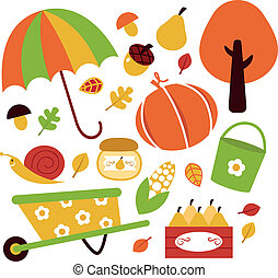 éléments, jardin, isolé, automne, ensemble, blanc