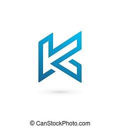 éléments, k lettre, conception, gabarit, logo, icône