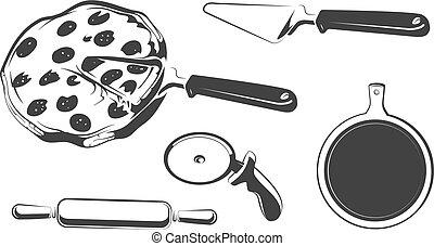 éléments, logos, vendange, étiquettes, emblèmes, vecteur, ou, insignes, pizza
