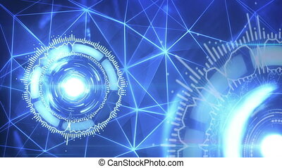 éléments, loopable, tourner, fond, futuriste, circulaire