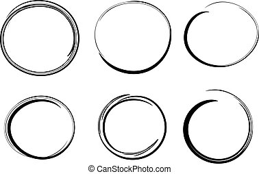 éléments, main, cercles, vecteur, conception, dessiné