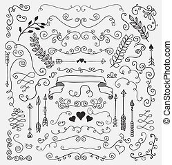 éléments, main, rustique, vecteur, conception, sketched, floral