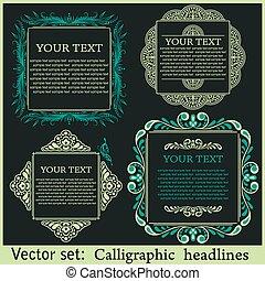 éléments, menu, calligraphic, its., conception, ou