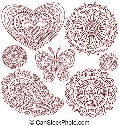 éléments, mettez stylique, doodles, henné