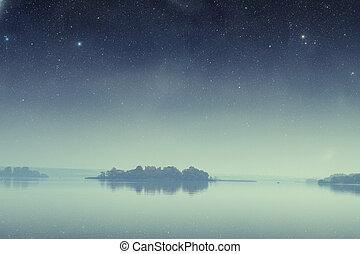 éléments, meublé, ceci, île, image, océan, b, night.