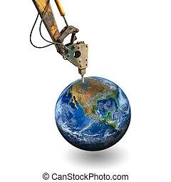 éléments, meublé, ceci, image, creuser, nasa, marteau-piqueur, earth.