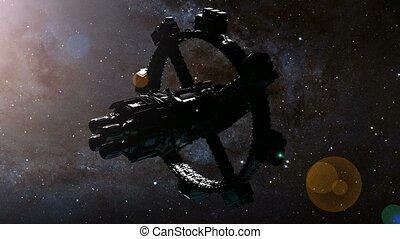 éléments, meublé, ceci, image, espace, nasa., station, orbiter, earth.
