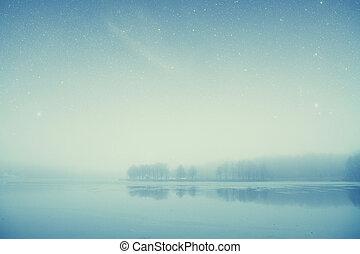éléments, meublé, ceci, image, lac, nasa, forêt, nuit