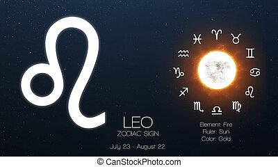 éléments, meublé, ceci, image, -, leo., signe, infographics., nasa, zodiaque, astrologic, frais
