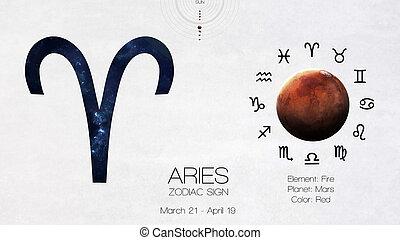 éléments, meublé, ceci,  image,  -, signe,  infographics,  NASA, zodiaque,  astrologic, bélier, frais