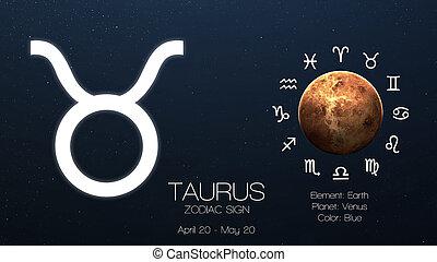 éléments, meublé, ceci, image, -, signe, taurus., infographics., nasa, zodiaque, astrologic, frais