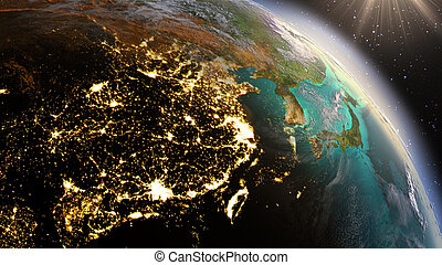 éléments, meublé, ceci, image, sunrise., planète, nasa, nuit, la terre