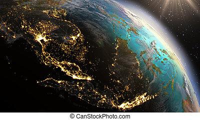 éléments, meublé, ceci, image, zone., asie, planète, nasa, la terre, est, sud