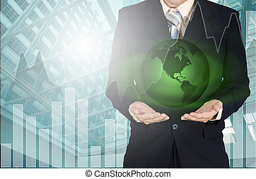 éléments, meublé, ceci, main., jeune, planète, nasa, tenue, homme affaires, la terre, image
