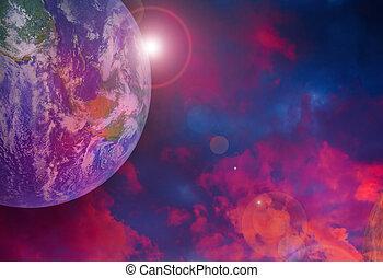 éléments, meublé, ceci, résumé, space., nasa, coucher soleil, la terre, image