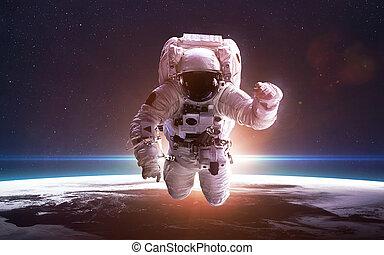 éléments, meublé, ceci, sur, espace, planète, nasa, astronaute, earth., image