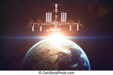 éléments, meublé, ceci, sur, espace, planète, station, international, earth., image, nasa