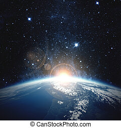 éléments, meublé, ceci, sur, nasa, earth., image, levers de soleil