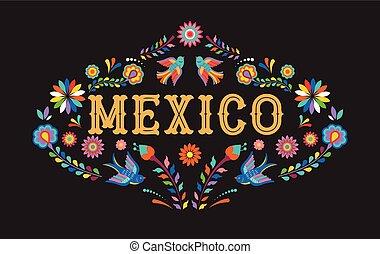 éléments, mexicain, coloré, mexique, fleurs, fond, bannière, oiseaux