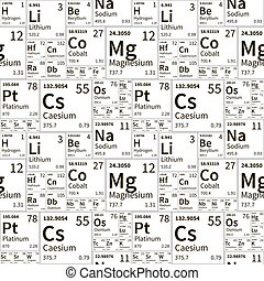 éléments, modèle, seamless, chimique, périodique, noir, blanc, table