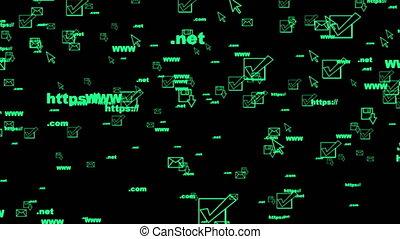 éléments, moniteur, écran, seamless, randomly, en mouvement, vidéo, boucle