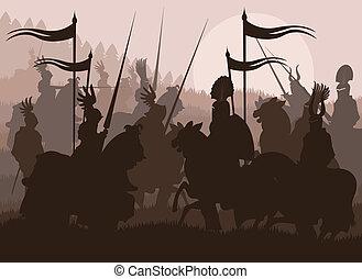 éléments, moyen-âge, chevalier, vecteur, vendange, cavalier