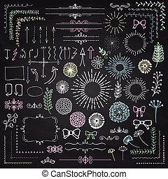 éléments, noir, floral, sketched, vecteur, conception, rustique
