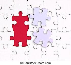 éléments, non, puzzle, là, deux, rouges