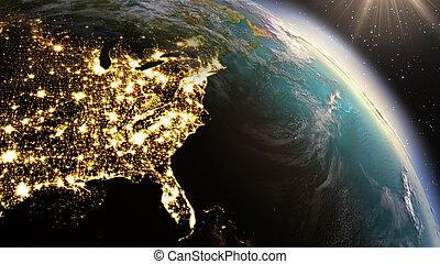 éléments, nord, meublé, ceci, image, zone., planète, nasa, la terre, amérique