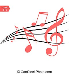 éléments, notes, illustration, réaliste, vecteur, conception, écoulement, musical, rouges, style