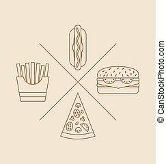 éléments, nourriture, jeûne, conception, illustration, logo