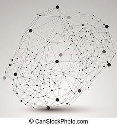 éléments, numérique, spatial, géométrique, noir, figure, wireframe., vecteur, objet, monochrome, 3d, technologie