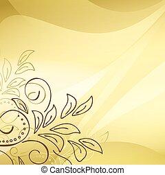 éléments, or, vecteur, fond, floral, coin