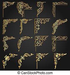 éléments, or, vendange, mettez stylique, 4 coins, frontières