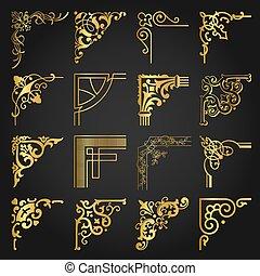 éléments, or, vendange, mettez stylique, coins, 2, frontières